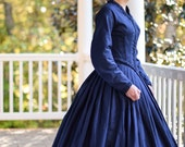 Civil War Gown, 1860s Reenactment, Victorian Gown, Navy Blue, Living History, Dickens Costume, Misses Size 4