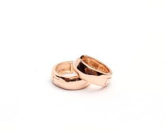 """14k Rose Gold Over Sterling Silver Huggie Hoop Earrings (1/2"""" in diameter)"""