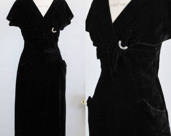 Vintage 1940s Black Velvet Dress With Pockets / 40s Cocktail Dress Rhinestone Embellishment/  Forever Young By Puritan / 1940s Wiggle Dress