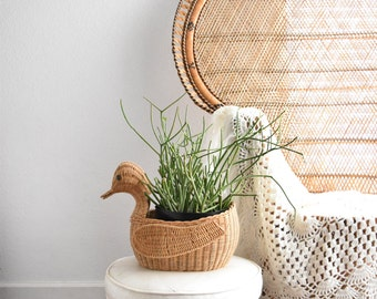 large boho woven rattan bamboo bird duck basket planter / sculpture
