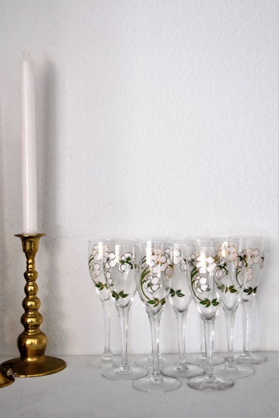 set of hand painted french flute champagne glass stemware / perrier jouet / floral flowers