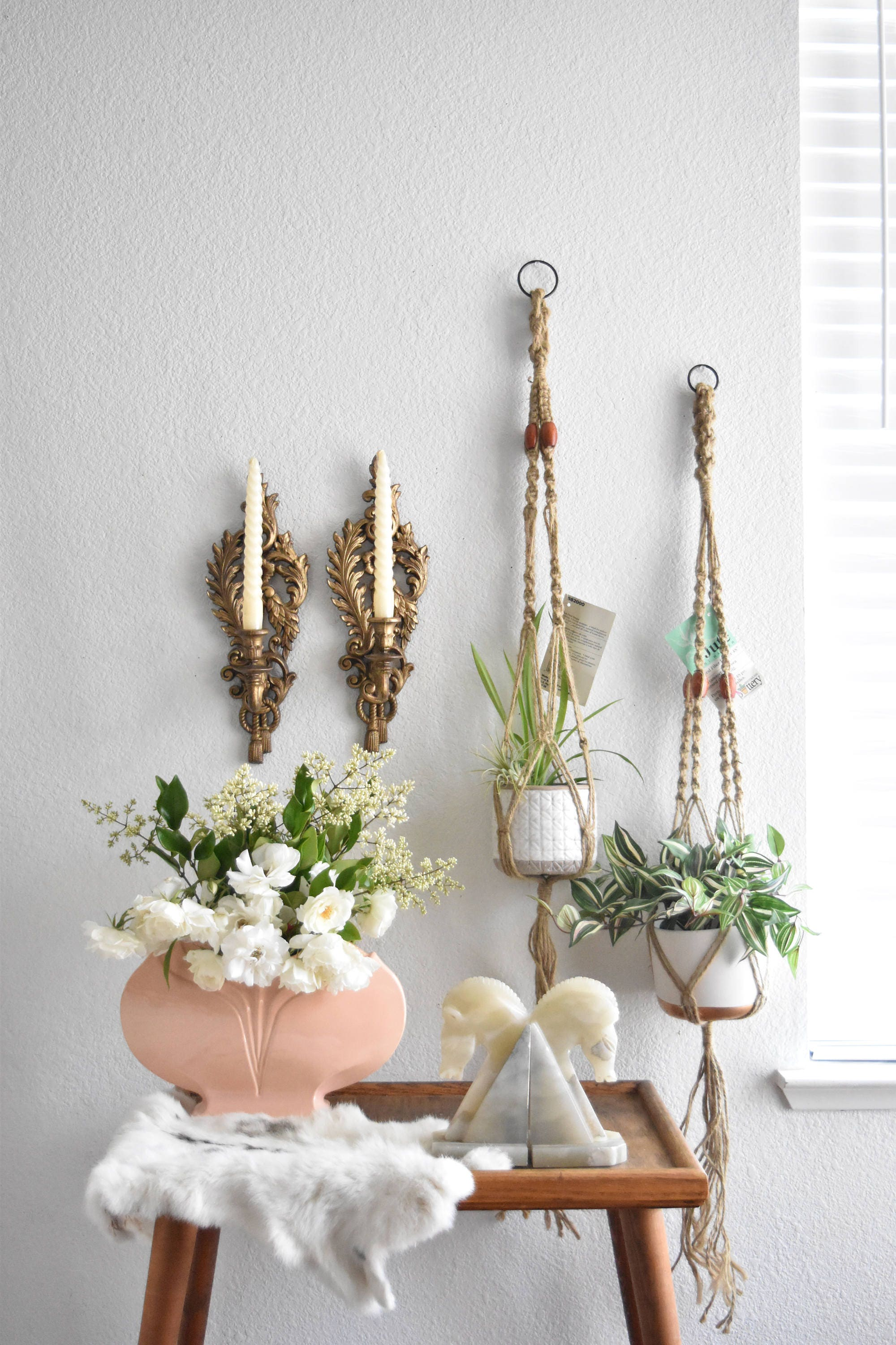 Vintage Jute Macrame Planter Hanger Indoor Plant Holder
