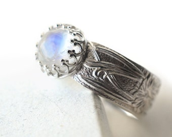 Blue Moonstone Ring, Sterling Silver Ring, Art Nouveau Style Floral Ring, Customized Wide Band Ring, 8mm Natural Gemstone Vintage Style Ring