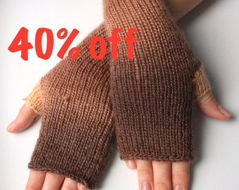 40% OFF Fingerless Gloves (Wrist Warmers, Fingerless Mittens, Fingerless Mitts) - Multicolor with brown and beige