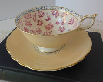 Paragon FORTUNE Telling TEA CUP and Saucer Peach Color Tasseography