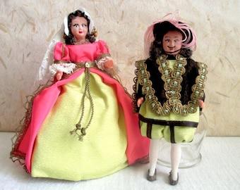 French Celluloid Royal Couple François Ier costume doll, folk doll, vintage, Lyly, France