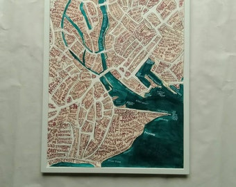 Galway Ireland Map - hand lettered - 28 x 20