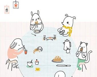 Print Bakery - illustration A4   wall art, cute print, digital illustration, A4 poster, cute animals, kawaii, kids room decor, kids room art