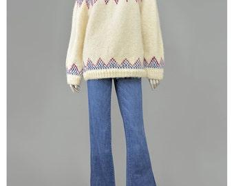 Vintage Hand Knit Sweater Fair Isle Sweater Wool Sweater Blue Plum Purple Cream Sweater Pullover Oversize Sweater Chunky Knit Sweater (M/L)