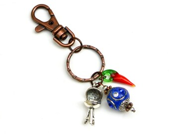 BBQ Charm Keyring- Barbecue Grill Keychain, Chili Pepper, Blue Beaded Keychain, Charm Key Ring, Purse Charm, Backpack Charm, Grilling Gift