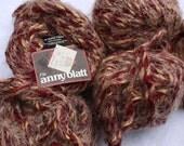 5 Balls Wool blend Maroon and Gold Yarn Anny Blatt Tangara 50g made in France