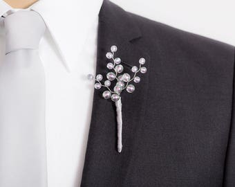 Frosted Gray Boutonniere - Gray Boutonniere with Purple and Green Highlights for Weddings or Prom - Mens Boutonniere - Prom Boutonniere