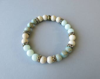 Blue Beaded Bracelet, Stone Bracelet, Stretch Bracelet, Gemstone Bracelet, Pastel Bracelet, Amazonite Bracelet, Aqua Terra Jasper Bracelet