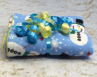 Christmas Snowmen Blue/Yellow Reversible Burp Cloth Great for Baby's First Christmas - Ready to Ship by PiquantDesigns