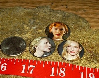 CATE BLANCHETT 3 one inch pin back buttons badge set