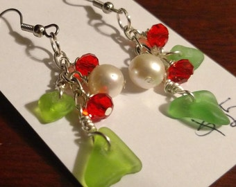 Sea glass, crystal, and faux peal Christmas earrings, hypoallergenic nickel-free ear wires