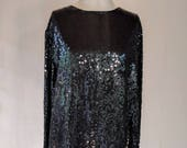 Black Sequin Lord & Taylor Shirt Top Glam 24W