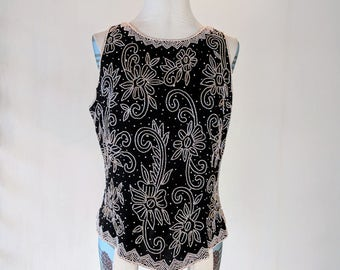 Beaded Floral Elegant Fitted Tank Top Glam