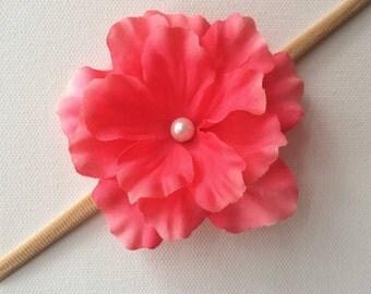Bright coral flowered headband