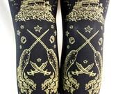 Pirate Footless Tights Narwhals Octopus Tattoo Small Medium Gold on Black Nautical Tattoo Sailor Lolita Steampunk