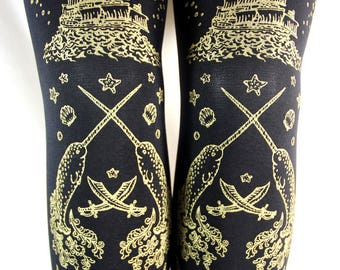 Pirate Footless Tights Narwhals Octopus Tattoo Small Medium Gold on Black Nautical Tattoo Sailor Lolita Steampunk