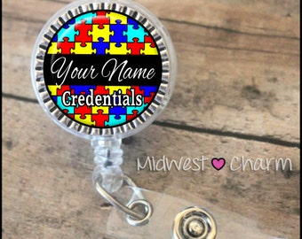 Autism awareness..Personalized retractable badge reel pinch...nurse.labor and delivery..lpn..rn..md..id holder..lanyard..bottlecap jewelry