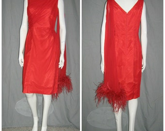 1950's RED HOT Sexy Draped Wiggle Dress One Shoulder Scarf with OSTRICH Feathers Cocktail 29 waist  Bombshell Marilyn Vixen Vlv Rockabilly