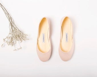 Nude Ballet Flats | Ballerina Shoes | Slip Ons | Leather Flats | Bridal Ballerina Flats | Nude... Ready to Ship