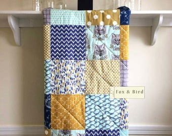 Quilt Baby, Gender Neutral, Fox, Bird, Feathers, Baby Blanket, Rustic Crib Bedding, Woodland Baby Quilt, Minky Back, Blue, Gold, Mint, Grey,