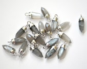 Gray Moonstone Bullet Spike Point Pendant Dipped in Sterling Silver, 16x5mm, Moonstone Bullet Point