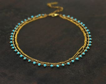 20% off. Turquoise Choker. Multi Chain Choker. Layering Necklace.  Antique Brass, Gold and Turquoise Choker.  In Gold or Silver.
