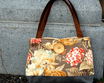 Handcrafted gray floral Handbag / Purse  : Garden Club
