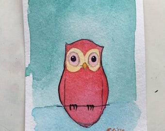 Owl Mini Painting, Cute Watercolor Owl Decor on Paper, mini painting, Watercolor Artwork, Owls Doing Things, Owl Gift, Chouette, Small Gift
