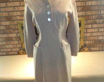 Vintage 50s Tan Wool Sweater Dress