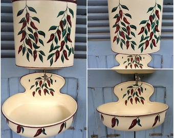 Superb vintage French  enamel lavabo bowl  and water closet 1930s,Cottage chic,Chic decor,French decor