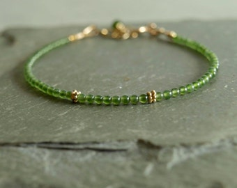 Jade Bracelet, small green jade, genuine gemstones, gold beads, slim beaded bracelet, elegant stacking bracelet, quality real jade jewelry