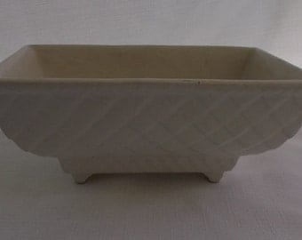 Vintage Pottery Planter, Cream Rectangular Planter, 404-USA