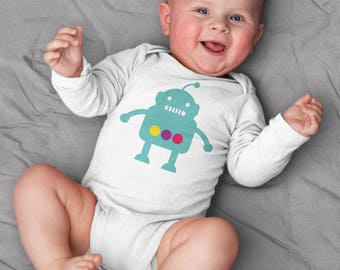 Baby boy clothes, robot baby bodysuit, short sleeve, long sleeve, 3 months - 18 months, baby shower gift