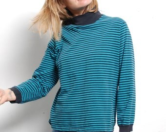 90s striped OXFORD soft SPRING long sleeve t-shirt top MOCK turtleneck