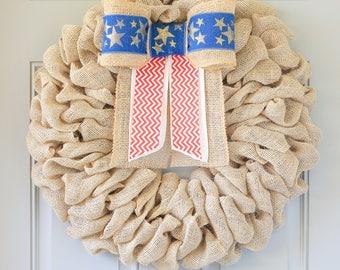 Patriotic Wreath for Memorial Day, Summer Wreaths for Front Door, Double Door Wreaths, Burlap Wreath, Mothers Day Gift, Premium Wreath