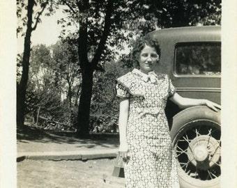 "Vintage Photo ""His Road Trip Companion"" Woman Car Snapshot Antique Photo Old Black & White Photograph Found Paper Ephemera Vernacular - 157"
