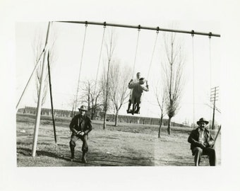 """Vintage Photo """"Never Too Old for a Swing"""" Snapshot Antique Photo Old Black & White Photograph Found Paper Ephemera Vernacular - 71"""