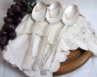 Antique Silverware, Art Deco 3-Pc Hostess Set, Mismatched Silverplate Flatware, Serving Spoons, Vintage Silver Serving Set, Fine Dining