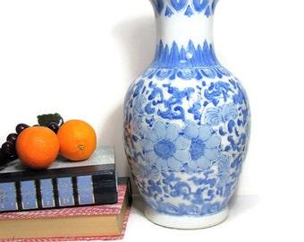 "Blue White Porcelain Vase, Vintage Chinoiserie Large 12"" Tall Floral Vase, Asian Blue Floral on White"