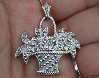 Vintage Sterling Silver Marcasite Jardenier Flower Basket Pendant Necklace