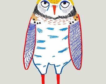 The Lovely Owl. art print for kids wall art children's decor nursery wall decor owl art