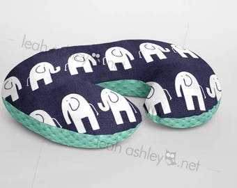 Boppy® Cover, Nursing Pillow Cover - NAVY Elephant Minky with MINT Minky Dot or Minky Smooth - Choose Your Minky Type - BC2