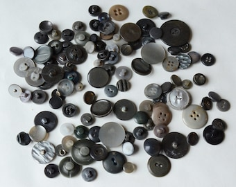 Lot  Vintage Gray Buttons 2 4 hole Shank Crafts Sets  -B4