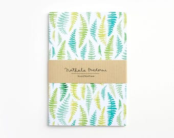 Green notebook, Travel notebook, travel diary, travel size sketchbook, fern pattern, botanical notebook, nature lover gift, forest notebook