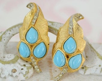 Vintage Clip-On Earrings of Gold-Tone Leaves with Rhinestones and Light Blue Glass Stones